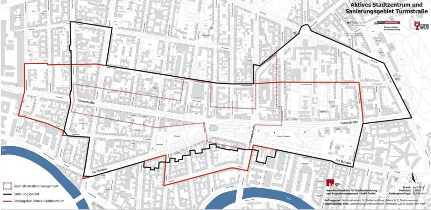 Karte aktives Stadtzentrum und Sanierungsgebiet Turmstraße
